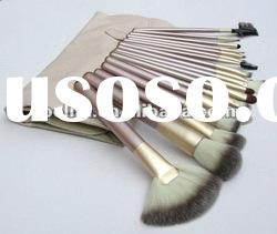 18 PCS Pro Beige Make Up Cosmetic Brush Set Kit With Case Brand New