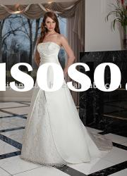 2012 Latest Exquisite Ball Gown Strapless Chapel Train Satin Wedding Dresses