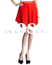 2012 hot sale red chiffon women fashion skirt