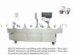 2 cavity aluminum foil cover cup filling and sealing machine