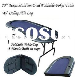 73'' Texas Hold'em Oval Folding Poker Table w/ Collapsible Leg