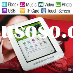 "8"" Touch Screen Ebook Reader with 4GB Memory, Card Slot, Support Music, Video, Photo, USB"