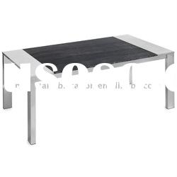Brushed stainless steel dining table with marble in the middle
