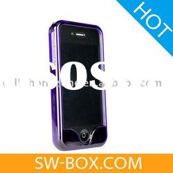 Crystal Bumper Frame Hard Case for iPhone 4 (Purple) /cell phone case