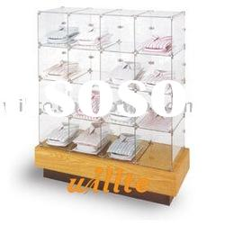 Double Sided Glass Cube Unit shirts display glass display cabinet with MDF base