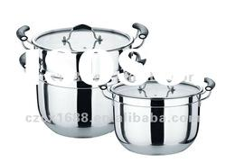 Double stainless steel cookware 6pcs steam pot sets