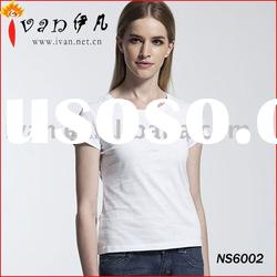 Fashion Ladies Plain White T shirts Cotton