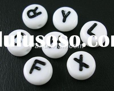 Flat Round Acrylic Alphabet beads, Mixed Letters, 7mm, about 3600pcs, hole: about 1mm (PL37C9070)