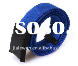 Flat buckle blue mens canvas strap belt