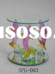 Gold plated pink dolphin glass incense Oil burner