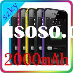 HOT! 2000mAh External Rechargeable backup Battery Case Emergency Power Charger for iPhone 4 4S 4G