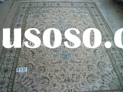 Hand knotted silk and wool rug