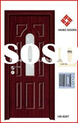 Low price PVC bathroom door with door lock, handle, hinges, glass