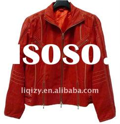 Manufacture Autumn red leather coats woman