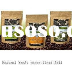 Natural Kraft Paper Coffee Bags With Zipper