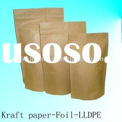 Natural Kraft Paper Foil Lined Stand Up Pouch With Zipper(Recyclable Material)