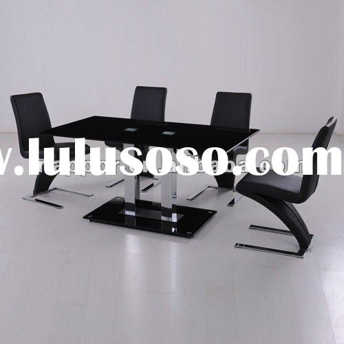New Black Tempered Glass Dining Table with 6 Stylish PU Leather Z Chairs Sets