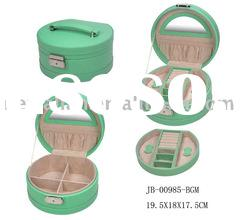 PU leather jewelry box,beauty case with lock and portable for traveling
