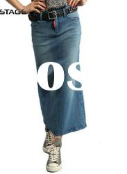 Retro women's long length straight jeans front pocket simple design casual skirt