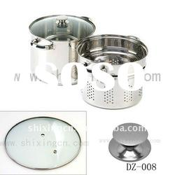 STAINLESS STEEL Culinary Essentials PASTA COOKWARE Pot Strainer SET Glass Lid