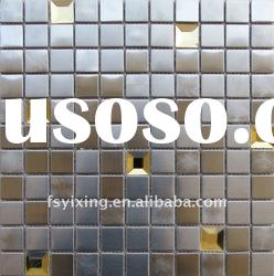 brushed stainless steel metal mix glass mosaic tile--bedroom, lobby, villa decoration