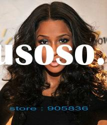celebrity black loose curly indian remy hair lace front wig