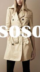 fashion Double breasted slim fit packaway trench coat yellow trench coat