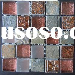 glass and stone wall mosaic tile