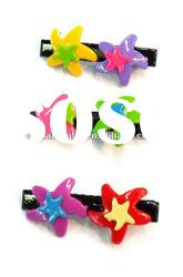 newest plastic starfish hair clip for kids,plastic heart hair clip,2012 spring kid hair clip