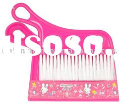 pink printed plastic floor cleaning dish dustpan with brush set