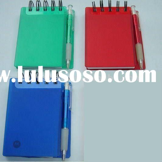 pvc cover plastic mini spiral note book with pen holder