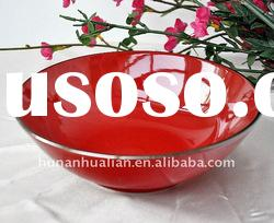 red round ceramic dinnerware soup bowls with machine printing