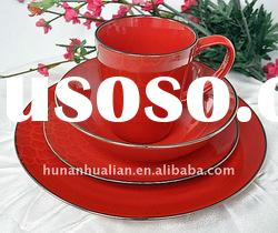 shining red round ceramic dinnerware set with machine printing