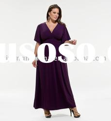 simple style short sleeve chiffon plus size Evening dress