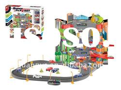 super garage playset music toys with free wheel cars P2888D