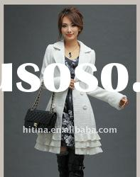 winter white pure wool long coats for women