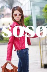 womens red washed biker pu leather jacket