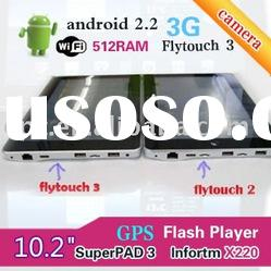 10 inch Super pad 3 Fly Touch 3 Flash 10.1 Android 2.2 Tablet PC WIFI CAMERA GPS HDMI LAN