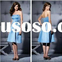 2011 New arrival Strapless Satin Knee Length Baby Blue Bridesmaid Dresses