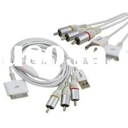 Composite AV TV Video Cable for Apple iPod iPhone 3gs/Accessory for ipad
