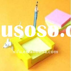 Multi-use Mouse Plastic Memo Pad Cube Holder With Pen Stand,Paper Note Holder