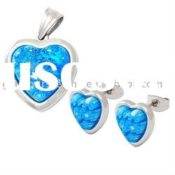 New Ocean Blue Murano Stone collection women stainless steel jewelry sets