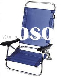 alu beach folding chair with plastic armrest,with alu tube support in the back