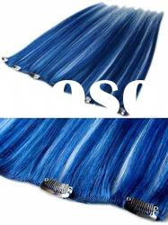 "blue color 20"" human hair extension"