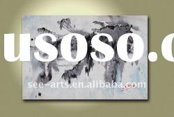 modern abstract oil painting black white hang clip art
