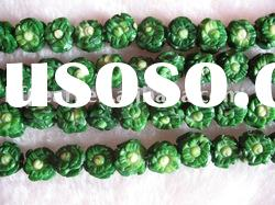 wholesale 14mm green flower carved natural loose coral beads