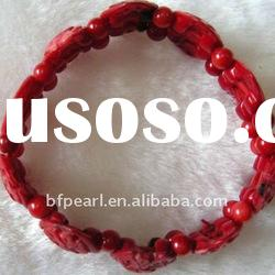 wholesale red carved flower and beads coral bracelet
