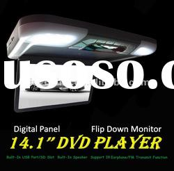 14.1'' Flip Down Roof Mount Car DVD Player with USB/SD/TV/IR/FM/GAME