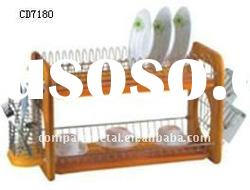2 layer Wooden dish rack with tray,cutlery basket and cup holder