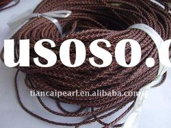 3mm 50meter/Lot dark brown braided round real geunine Leather Cord Free shipping!!!